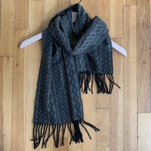 Anthropologie Wool Cable Print Fringe Scarf Olive